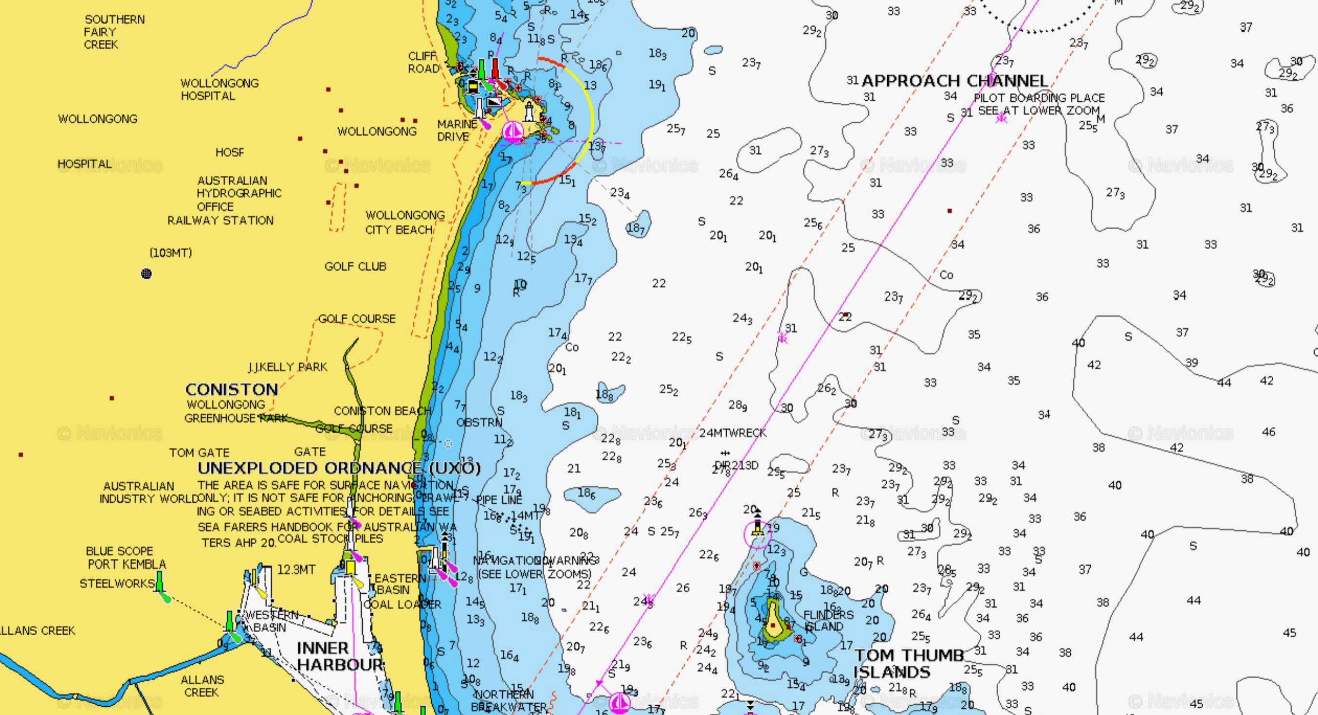 Wollongong Gps marks Fishing spots Local Reef Wrecks Offshore Maps